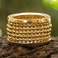 Gold plated band ring, 'Golden Suns' - Gold Plated Beaded Band Ring