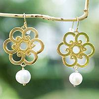 Gold plated cultured pearl flower earrings, 'Spiral Blooms' - Elegant Gold Plated Earrings with White Pearls