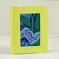 Recycled paper journal, 'Chiapas Beauty' - Embroidery Trim Journal of Recycled Natural Fibers