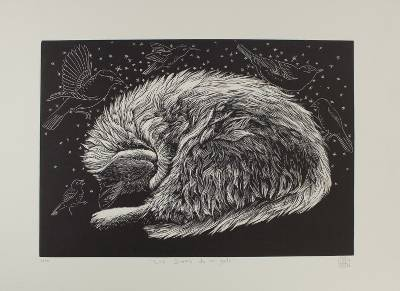 'My Cat's Dreams' - Black and White Bird Etching