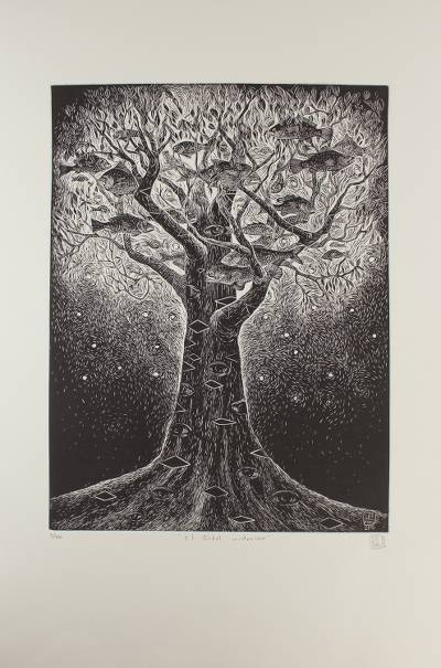 'The Mysterious Tree' - Surreal Tree Etching