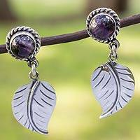 Amethyst dangle earrings, 'Taxco Nature' - Artisan Crafted Amethyst and Sterling Silver Earrings