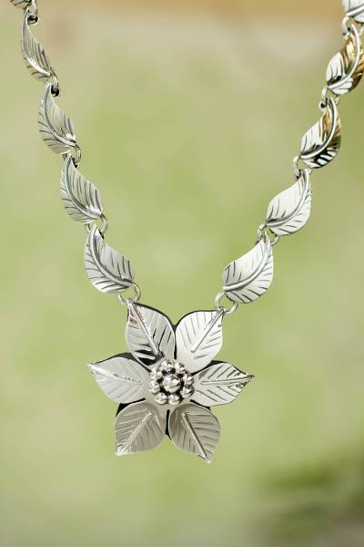 Sterling silver flower necklace, 'Floral Renaissance' - Sterling Silver Necklace from Taxco Jewelry Collection
