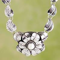 Cultured pearl flower necklace, 'Taxco Bouquet' - Sterling Silver Flower Necklace with Pearl