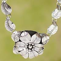 Sterling silver flower necklace, 'Taxco Bouquet' - Floral Necklace Artisan Crafted Sterling Silver Jewelry