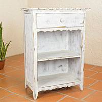 Wood side table, 'Tacambaro White' - Rustic White Wood Side Table with Drawer and Shelves