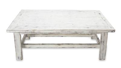 Handcrafted Rustic White Wood Coffee Table