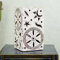 Ceramic accent lamp, 'Cosmos I' - Handcrafted Ceramic Accent Lamp from Mexico