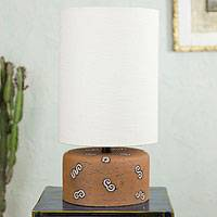 Ceramic table lamp, 'Terracotta Fossil' - Original Ceramic Lamp with Cotton Shade Crafted by Hand