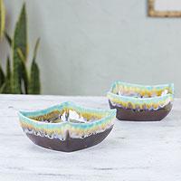 Stoneware bowls, 'Ixtapa' (pair) - Handcrafted Mexican Stoneware Bowl Set