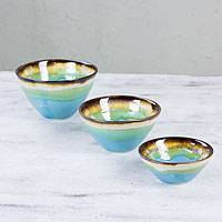 Stoneware condiment bowls, 'Bacalar Lagoon' (set of 3) - Hand Crafted Stoneware Ceramic Condiment Bowls (Set of 3)