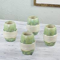 Stoneware drinking cups, 'Paths on the Moon' (set of 4) - Green and White Hand Crafted Stoneware Cups (Set of 4)