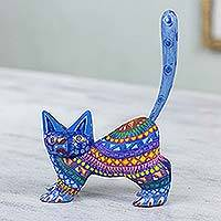 Alebrije sculpture, 'Playful Blue Kitten' - Mexican Alebrije Cat Sculpture