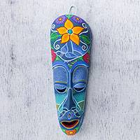 Ceramic mask, 'Blossoming Happiness' - Original Ceramic Mask Painted by Hand