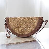 Palm and leather accent wristlet bag Mixteco Honey Mexico