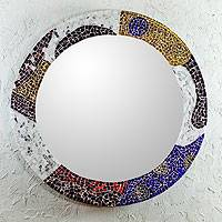 Stained glass mosaic wall mirror, 'Color Currents' - Hand Crafted Stained Glass Mosaic Mirror