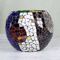 Stained glass tealight candleholder, 'Lunar Rainbow' (large) - Handcrafted Stained Glass Tealight Candleholder (large)