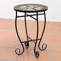 Stained glass accent table, 'Fire Star' - Handcrafted Stained Glass Table with Forged Iron Legs