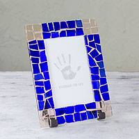 Stained glass photo frame, 'Cielo Eterno' (3x5) - Handcrafted Stained Glass Photo Frame (3x5)