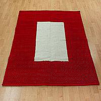 Wool rug, 'Crimson Window' (4x5.5) - Red Border Modern White Wool Accent Rug (4x5.5)
