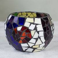 Stained glass tealight candleholder, 'Lunar Rainbow' (small) - Handcrafted Stained Glass Tealight Candleholder (small)