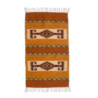 Zapotec wool rug, 'My Land' (2x3.5) - Natural Dyes Zapotec Wool Rug (2x3.5)