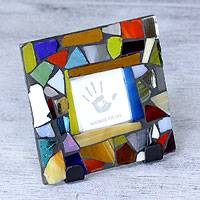 Stained glass photo frame, 'Mexican Kaleidoscope' (2x2) - Handcrafted Stained Glass Photo Frame (2x2)