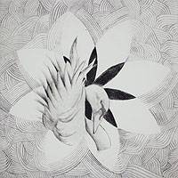"""Parallel lines swirl in gentle patterns to outline pristine white petals. In the center, are a seed and a swan. Fernando Niragob makes allusion to December 22, 2012, the Maya doomsday. """"After the end of the world predicted by the ancient Maya calendar, the swan and the seed of life represent humanity's rebirth. Our human nature is reborn in each and every one of us. The lines stand for the new vibration of a new humanity,"""" he says."""