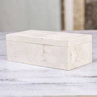 Piedra crema box, 'Life' - Hand-carved Mexican Marble Decorative Box