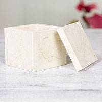 Piedra crema box, 'Cubic Life' - Hand-carved Mexican Marble Decorative Box