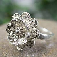 Sterling silver flower ring, 'Maya Margarita' - Fair Trade Sterling Silver Filigree Ring