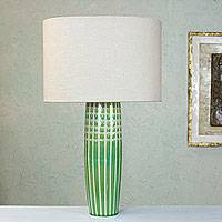 Stoneware table lamp, 'Cuatro Cienegas Lagoons' - Stoneware Ceramic Table Lamp