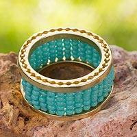 Gold plated band ring, 'Huichol Skies' - Handcrafted Gold Plated Beaded Band Ring