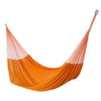 Cotton hammock, 'Diamonds in Sunlight' (double) - Hand-woven Orange Cotton Hammock (double)