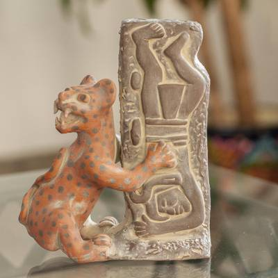 Ceramic sculpture, 'Olmeca Jaguar with Human' - Pre Hispanic Museum Replica Sculpture