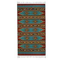 Zapotec wool rug, 'Colors of Nature' (6.5x10) - Turquoise Zapotec Wool Rug 6 X 10 Ft Handmade in Mexico