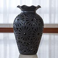 Decorative ceramic vase, 'Floral Ruffles' - Oaxaca Floral Vase