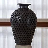 Decorative ceramic vase, 'Black Peacock' - Incised Black Pottery Vase from Mexico