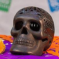 Ceramic calavera figurine, 'Day of the Dead' - Day of the Dead Ceramic Skull
