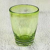 Blown glass juice glasses, 'Delicious Green' (set of 6) - Handcrafted Blown Glass Juice Glasses (set of 6)