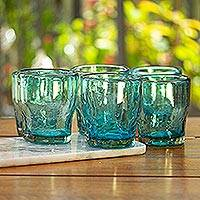 Blown glass juice glasses, 'Delicious Blue' (set of 6) - Handcrafted Blown Glass Juice Glasses (set of 6)