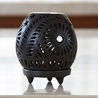Ceramic tealight holder, 'Black Blossoms' - Handmade Mexican Black Pottery Candleholder