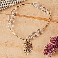 Gold plated quartz stretch bracelet,