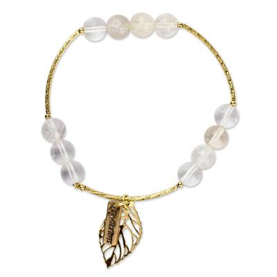 Artisan Crafted Gold Plated Bracelet with Quartz