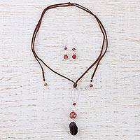 Leather and smoky quartz jewelry set,