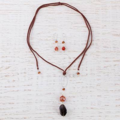 Leather and smoky quartz jewelry set, 'Warm Harmony' - Handcrafted Leather and Gems Jewelry Set