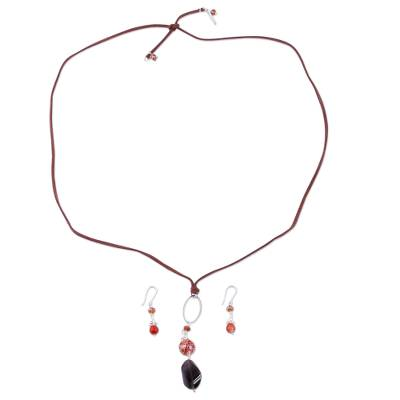 Handcrafted Leather and Gems Jewelry Set