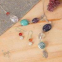 Cultured pearl and multi-gem jewelry set, 'Happy Sophistication' - Handcrafted Pearl and Multi Gems Silver Jewelry Set