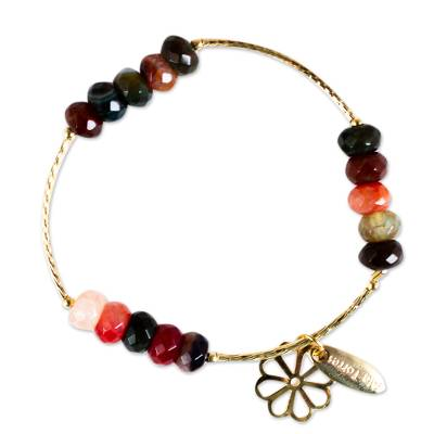 Artisan Crafted Gold Plated Bracelet with Agates