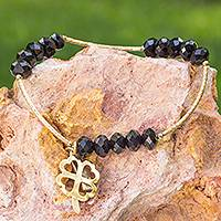 Gold plated stretch bracelet, 'Lucky Love Clover' - Artisan Crafted Gold Plated Stretch Bracelet